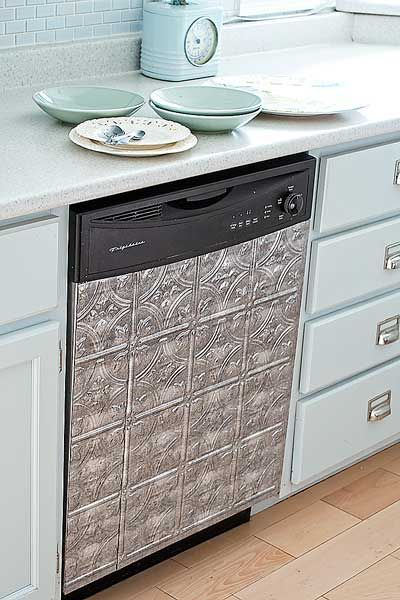 Vinyl ceiling tiles add vintage charm to this dishwasher. | Photo: Matthew Mead | thisoldhouse.com