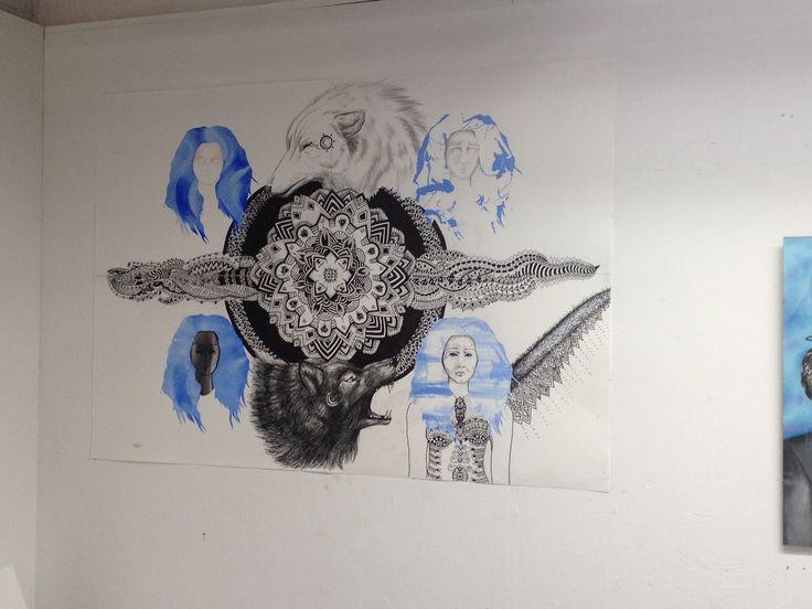 "My artwork ""clock"" ||| not finished #art #artist #mandala #wolves #clock #change"