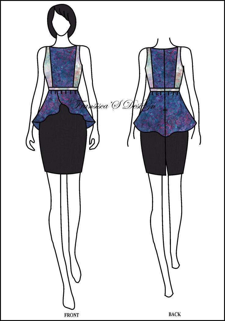 Blouse peplum asimetris kombinasi potongan dada.  #FashionDesigner #Butik #OnlineShop #DesainBajuBusanaWanita #Sketsa #Sketch #Modern #Casual #Trend #Blouse #Dress #Skirt #Hem #Batik #SoloBaru #Sukoharjo #Surakarta #JawaTengah #HP:085226138628 #PinBB:5176EF34