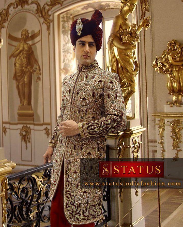 sherwani for men, sherwani uk, Asian clothes, wedding sherwani, Indian sherwani, groom sherwani, indo western, cream sherwani, cut work sherwani, designer sherwani www.statusindiafashion.com