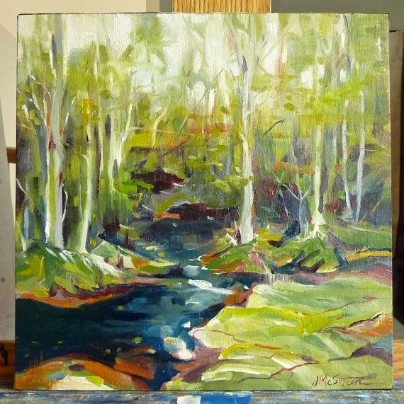 "Lull 1 Original Oil Forest and Stream  Landscape Painting by Judy McSween on 12"" Square  Birch Box"
