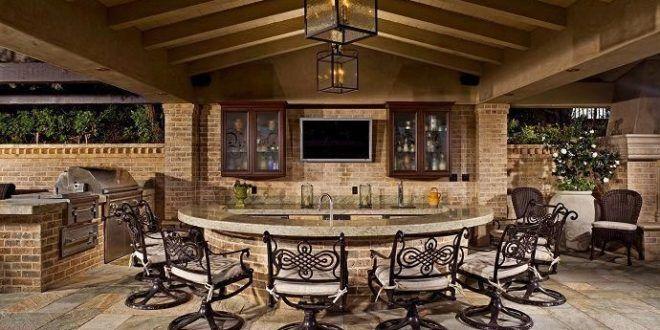 Outdoor Kuche Bar Stuhle Arbeitsplatte Tv Erlaubt Mehr Stuhle Umgebung Bar Und Platz Fur Tv Outdoorliving Backyard Kitchen Outdoor Kitchen Bars
