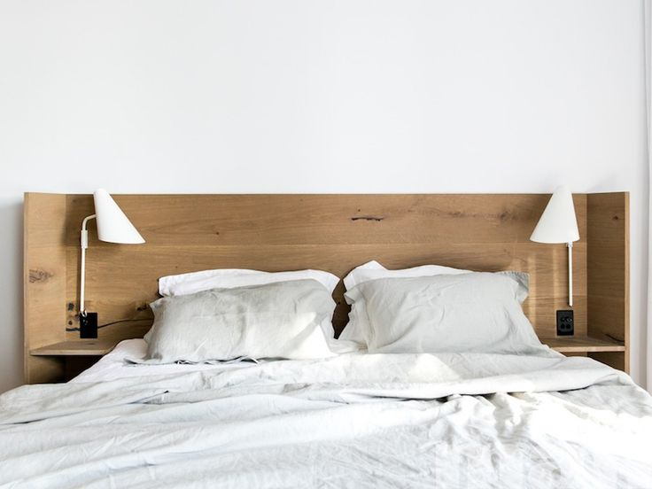 Bedhead in mafi Oak Country Brushed Grey Oil timber boards, Designed by C+M Studio.