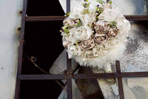 Wedding Bouquet Using Old Wedding Dress Fabric Another