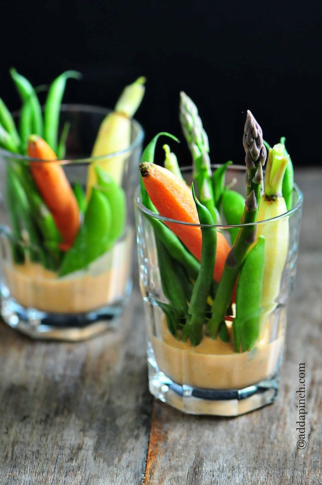 Crudites with Roasted Red Pepper Buttermilk Dip -- love these little individual servings!