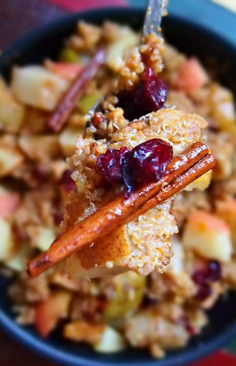 Thanksgiving Side: Pumpkin Quinoa with Cinnamon Spice Baked Apples & Pears with Cranberries, Walnuts, & a Honey Glaze!