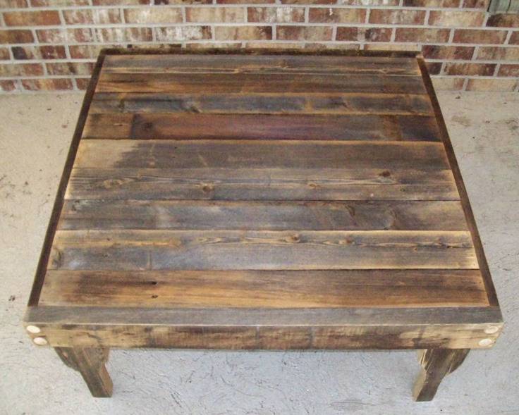 Natural Finish Square Reclaimed Wood Coffee Table With
