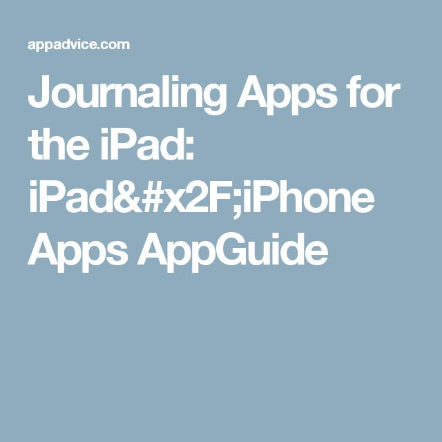 Journaling Apps for the iPad: iPad/iPhone Apps AppGuide