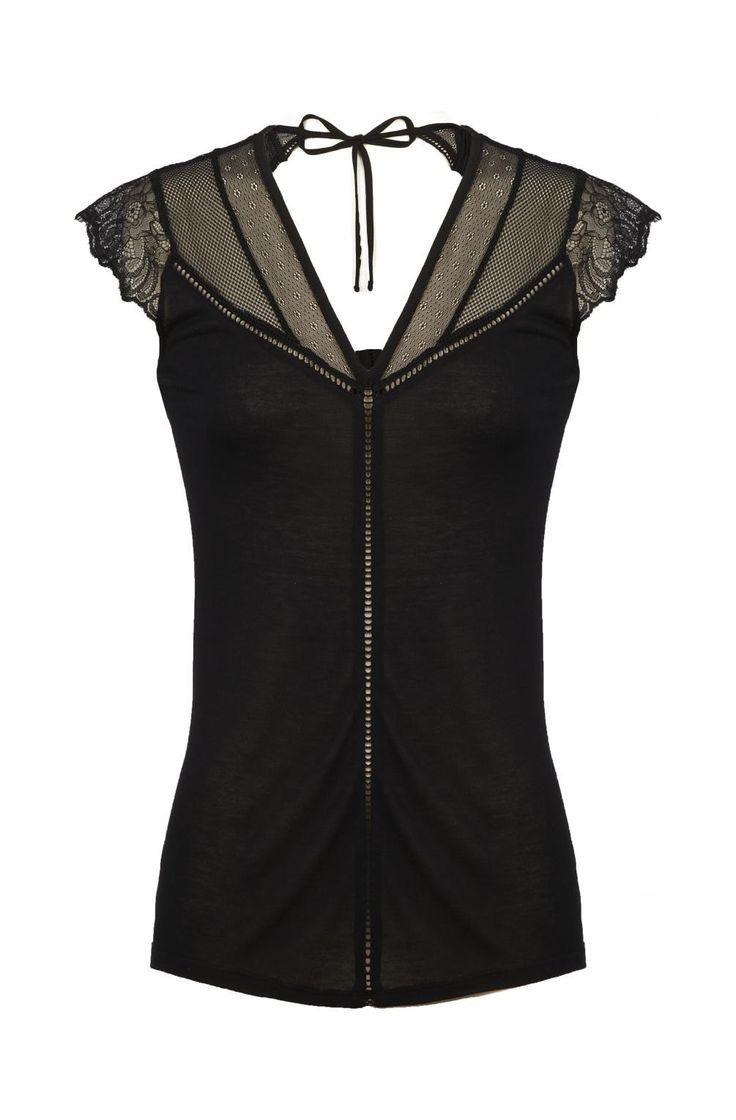 Top uni épaules dentelles noir - tee-shirts femme - naf naf