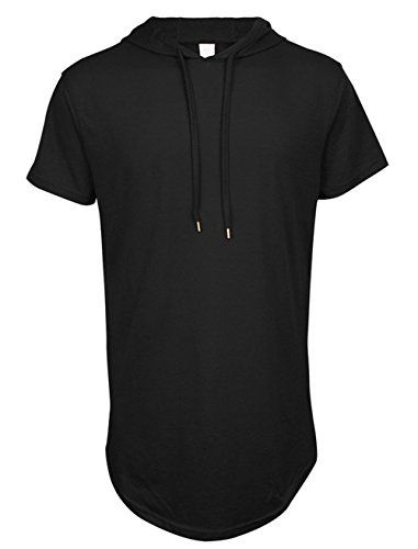 Lende Mens Hip Hop Longline Hooded Side Zipper TShirt FBA *** Want additional info? Click on the image.