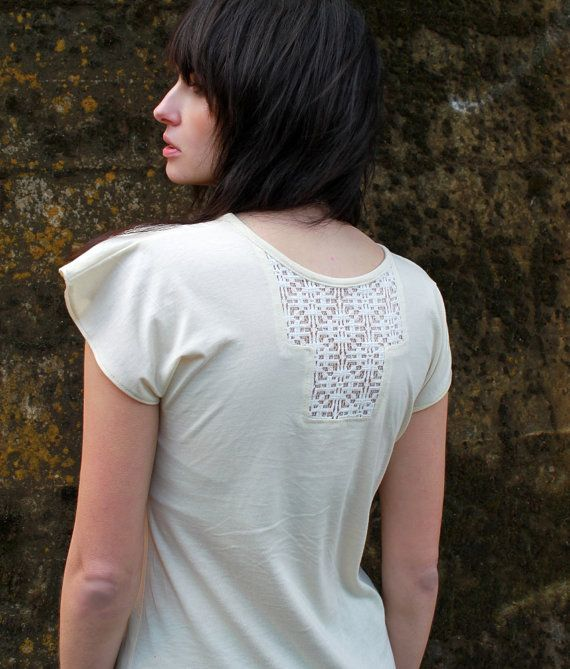 Lace tunic - Casual boho chic women's shirt with geometric lace neutral ivory jersey - large on Etsy, $90.14 CAD