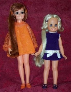 Velvet and Chrissie Doll with growing hair! You pushed on her belly button and pull out the hair, to make it long, then, you could make it short again by twisting a knob on her back.  I loved playing with these dolls at my cousin's house-I had Chrissy, she had Velvet and I was always a twinge jealous cuz I liked hers better...(no idea why)
