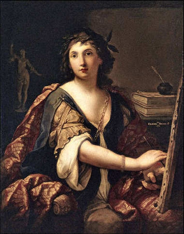 Self-portrait (1658). Elisabetta Sirani (Italian, 1638-1665). Oil. Pushkin Museum. Sirani had been the principal assistant of Guido Reni. Her talent was encouraged by the writer Malvasia, who later wrote an adulatory biography of her in his 'Felsina Pittrice' (1678). Her style is close to Reni's - idealized, affecting, sentimental, but with strong chiaroscuro and fine colour.