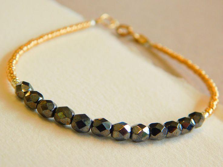 Hematite Beaded Bracelet, Delicate Bracelet, Stacking Bracelet, Seedbead Bracelet by jljewellerydesign on Etsy