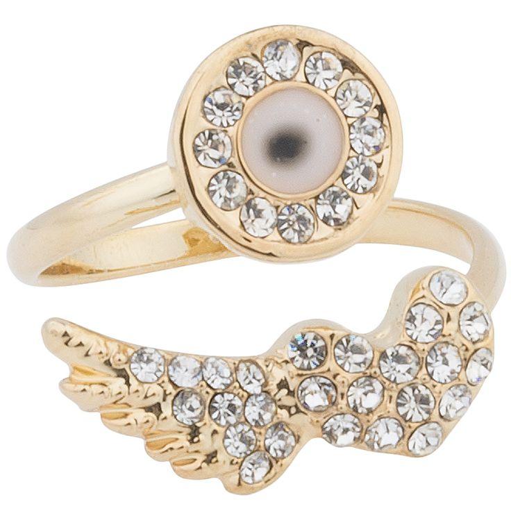 Achilleas Accessories - Προϊόντα : New Collection | FW 2014-15 / Bijoux / Δαχτυλίδια / ΔΑΧΤΥΛΙΔΙ ΔΙΠΛΟ ΜΕ ΜΑΤΙ & ANGEL WING