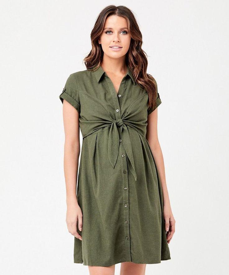 Colette tie up nursing dress in olive in 2020 maternity
