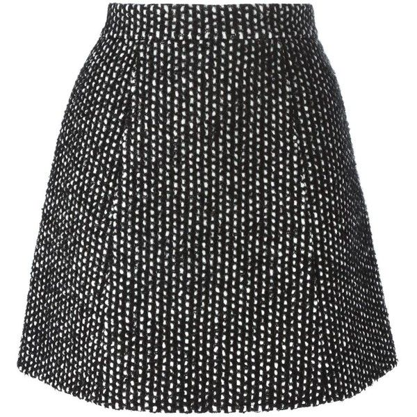 Ermanno Scervino tweed A-line mini skirt (£175) ❤ liked on Polyvore featuring skirts, mini skirts, bottoms, saias, faldas, black, ermanno scervino, short tweed skirt, tweed mini skirt and a-line skirt