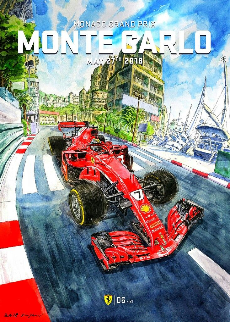 Scuderia Ferrari S Retro Cool Poster And Cover Art For The 2018 Monaco Grand Prix Captures The Feeling Ferrari Poster Grand Prix Posters Vintage Racing Poster