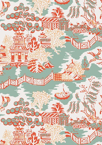 LUZON, Aqua and Coral, T36107, Collection Enchantment from Thibaut