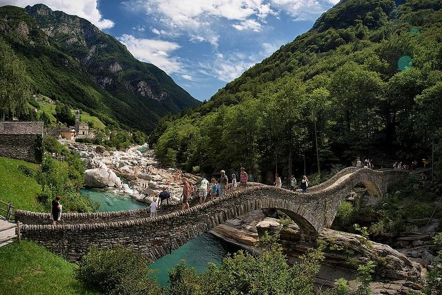 Ponte dei Salti at Lavertezzo in the Verzasca valley, canton Ticino, Switzerland