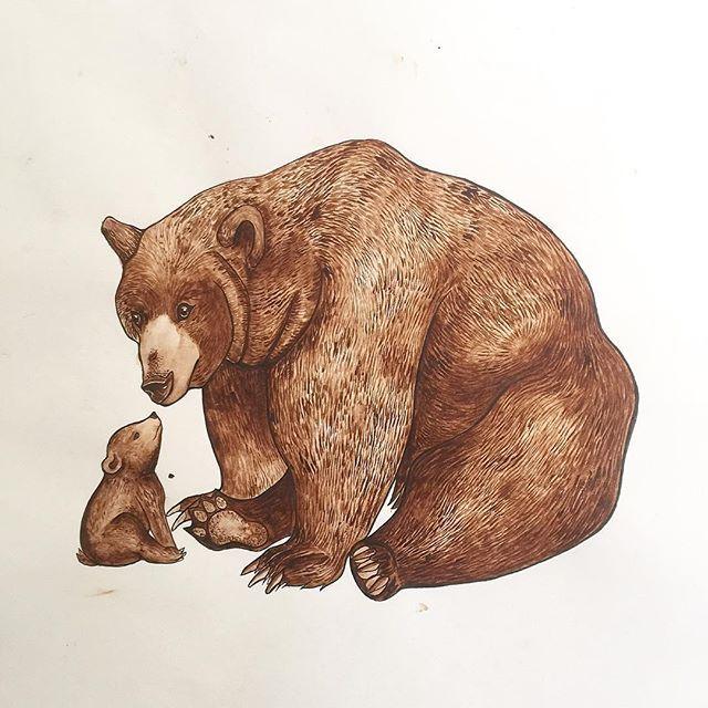 Caroline Towning - artist - watercolour papa bear... #bear #watercolor