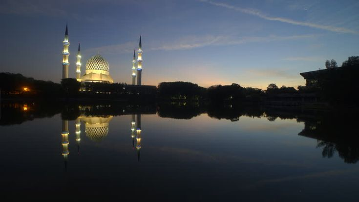 Sunrise Time Lapse with reflection at a Mosque in Shah Alam, Malaysia, SOOC Camera. HD.