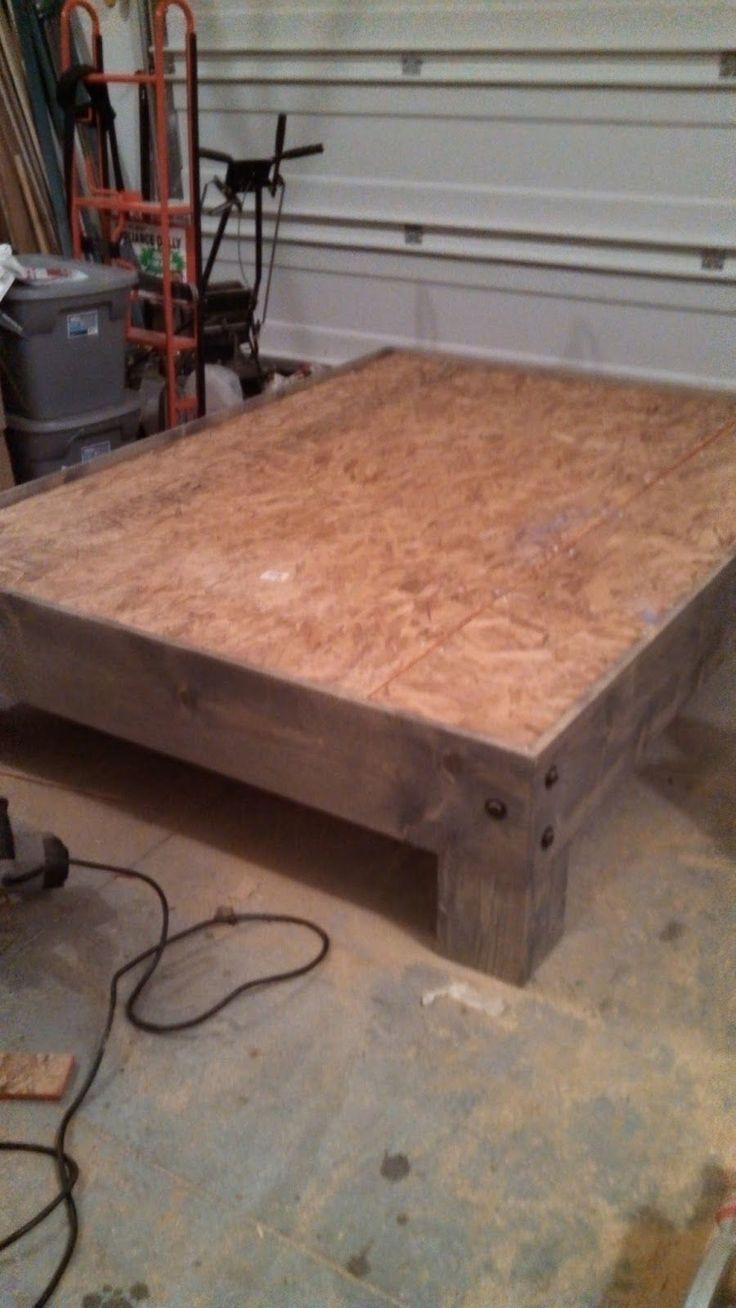 Diy queen platform bed frame - Diy Platform Bed Salvaged Door Headboard Part Three