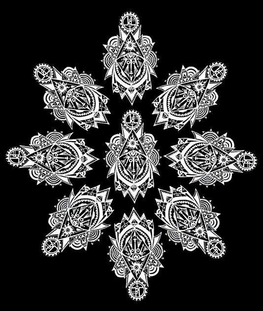 Original artwork, t-shirt design by Livia Schneider aka Beastling Alice  Geometric trippy, lordnlordess wear
