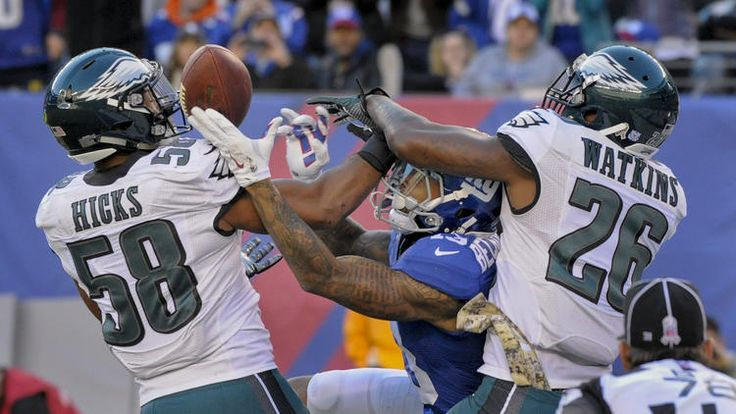Eagles vs. Giants:  28-23, Giants  -  November 6, 2016  -    Philadelphia Eagles middle linebacker Jordan Hicks (58) and defensive back Jaylen Watkins (26) break up a pass in the end zone intended for New York Giants wide receiver Odell Beckham (13) during the third quarter of an NFL football game, Sunday, Nov. 6, 2016, in East Rutherford, N.J.
