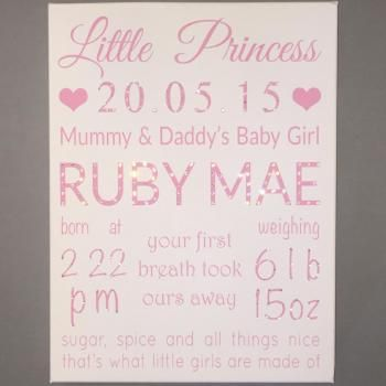 'Little Princess/Prince' Personalised Canvas 1