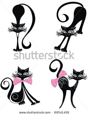 stock vector : Vector black cat.