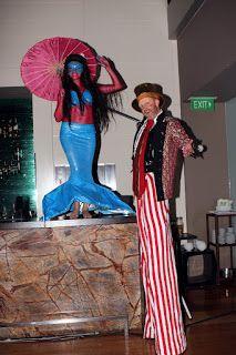 Human Statue Bodyart: Hilton Hotel Sydney: Zeta Bar Coney Island Blue Me...