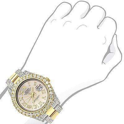 This breathtaking Iced Out Two Tone Rolex Oyster Perpetual Datejust Mens Diamond Watch is made of solid 18K yellow gold and stainless steel and showcases 15 carats of shining VS quality diamonds masterfully set in a bezel, sides, dial, band and clasp of this beautiful Rolex watch. Featuring a fully iced out look, this unique Rolex watch has an exquisite dial with roman numerals encrusted with diamonds. This Rolex watch is conveniently water resistant to 30 m (100ft). Please note: this…
