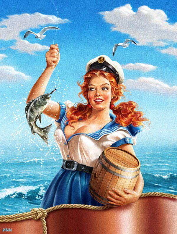 Открытки с морячкой, жестяной