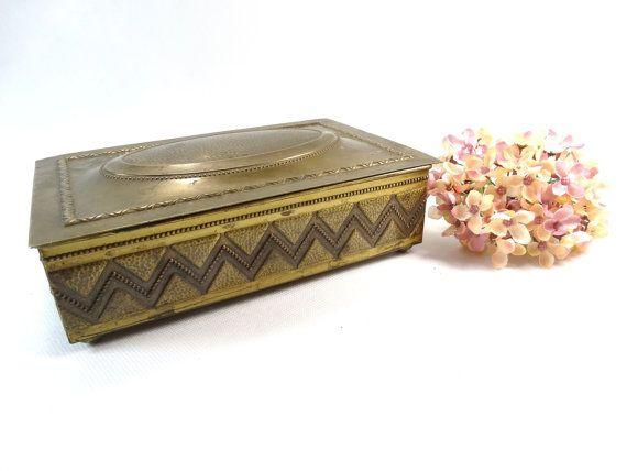 Art Deco Brass Trinket Box  Brass Container  by VintageLittleGems