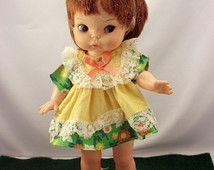 1960s Horsman Doll Painted Eyes 10 inch Original Clothes Green Flower Power Brown Hair