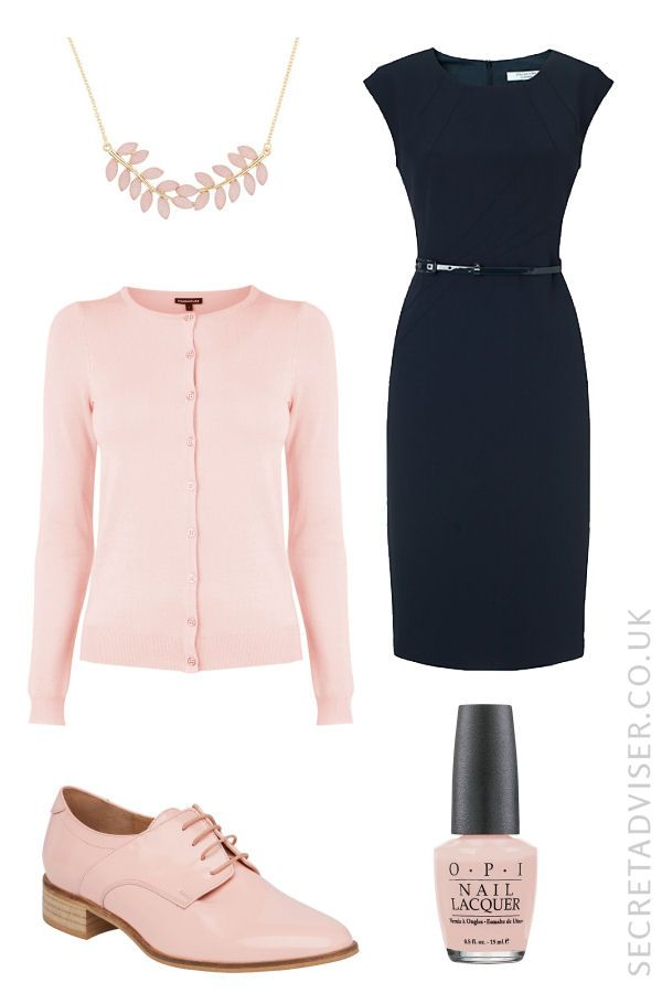 Navy dress with pale pink accessories outfit idea