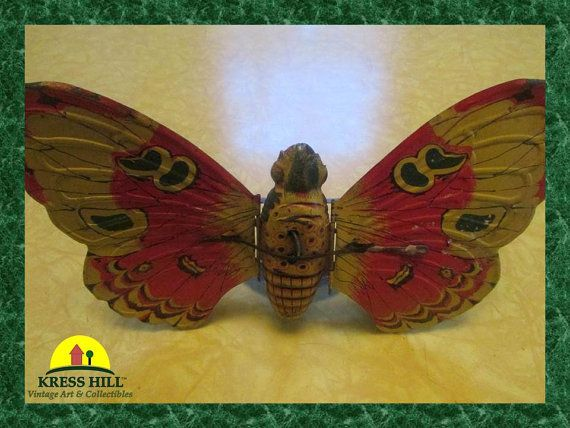 Vintage Large Butterfly Metal Pull Toy by KressHillVintage on Etsy