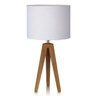 Lampe à poser trépied en bois et abat jour cylindre en tissu blanc Kullen
