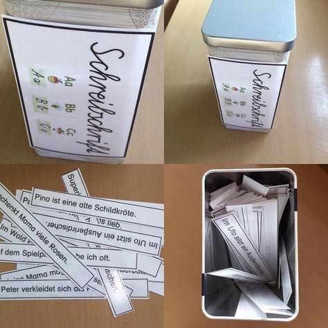 In dieser Schreibschriftbox finden die Kinder unzählige Satzstreifen, die in Schreibschrift ins Deutschheft geschrieben werden sollen! #schreibschrift #sas #schulausgangsschrift #übungmachtdenmeister #grundschulideen #grundschule #grundschullehrerin #unterrichtsideen #froileinskunterbu