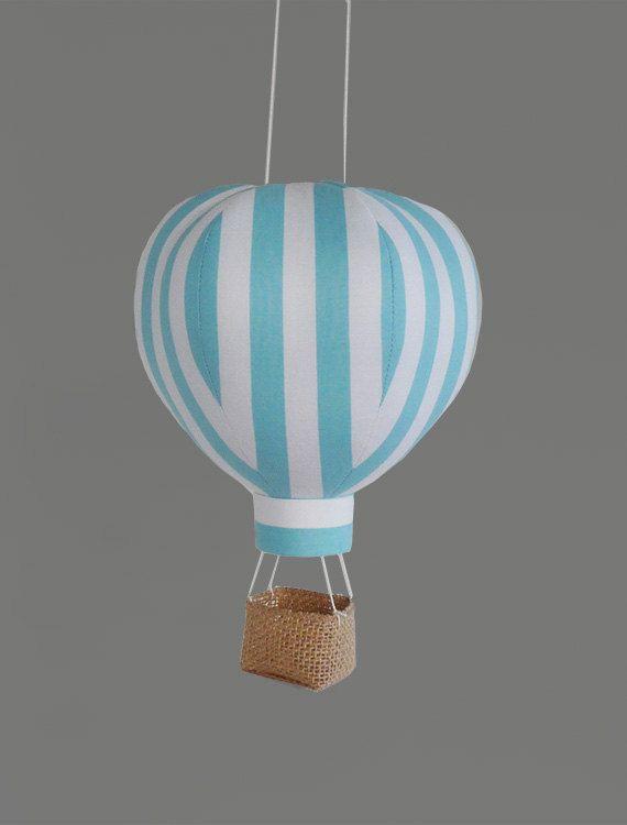 Singola aria calda palloncini decorazione - Nursery Decor, bambino regali e decorazioni a tema - strisce blu di viaggio