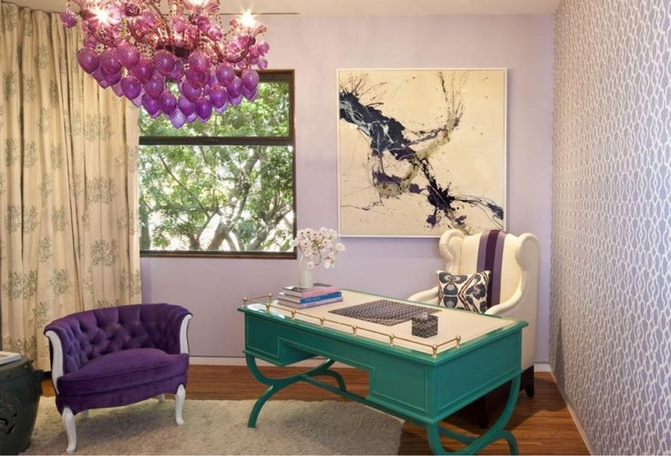 Wall Colors and Wallpaper, Decorative Office Chairs With Contemporary Design. Contemporary Decorative Office Chair Come With Green Painted Writing Desk With Insert White And White Fabric Cozy Office Chair With Accent Purple And Purple Tufted Fabric With White Legs Along With White Vase Also Purple Beads Chandelier With Gold Iron Framework And White Furry Rug As Well As Cream Curtain Also Abstract Picture Frame And Light Purple Painted Wall And Dark Brown Wooden Laminate Floor. Decorative…