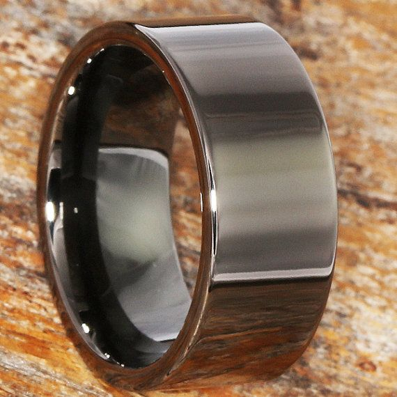 Unique Black Ring Engagement Ring Tungsten Band Black Etsy Black Tungsten Rings Black Rings Black Engagement Ring