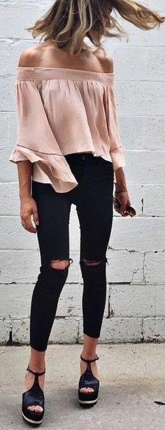 Wedges + black jeans + beige off the shoulder top