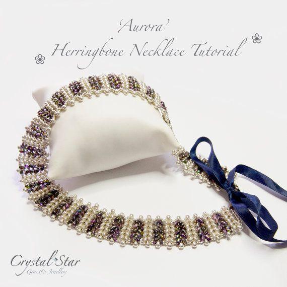 Herringbone Necklace 'Aurora'  Twin Beads to create this herringbone necklace