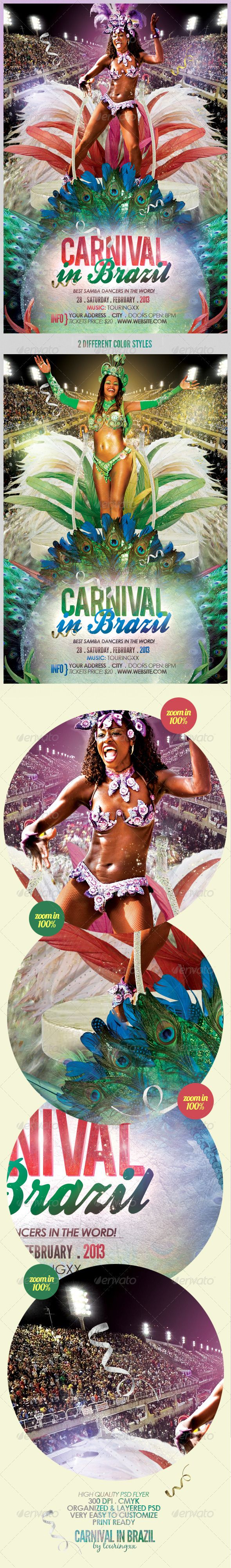 Carnival In Brazil Flyer Template - $6. ***This flyer is perfect for the promotion of Festivals, Parades, Club Parties, Musicals, Shows, Events or Whatever You Want!.***