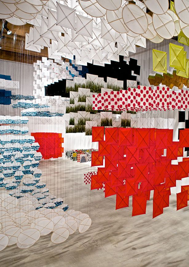 Jacob Hashimoto uses traditional kite making techniques to experiment with form, color, movement with his fantastic installation works.