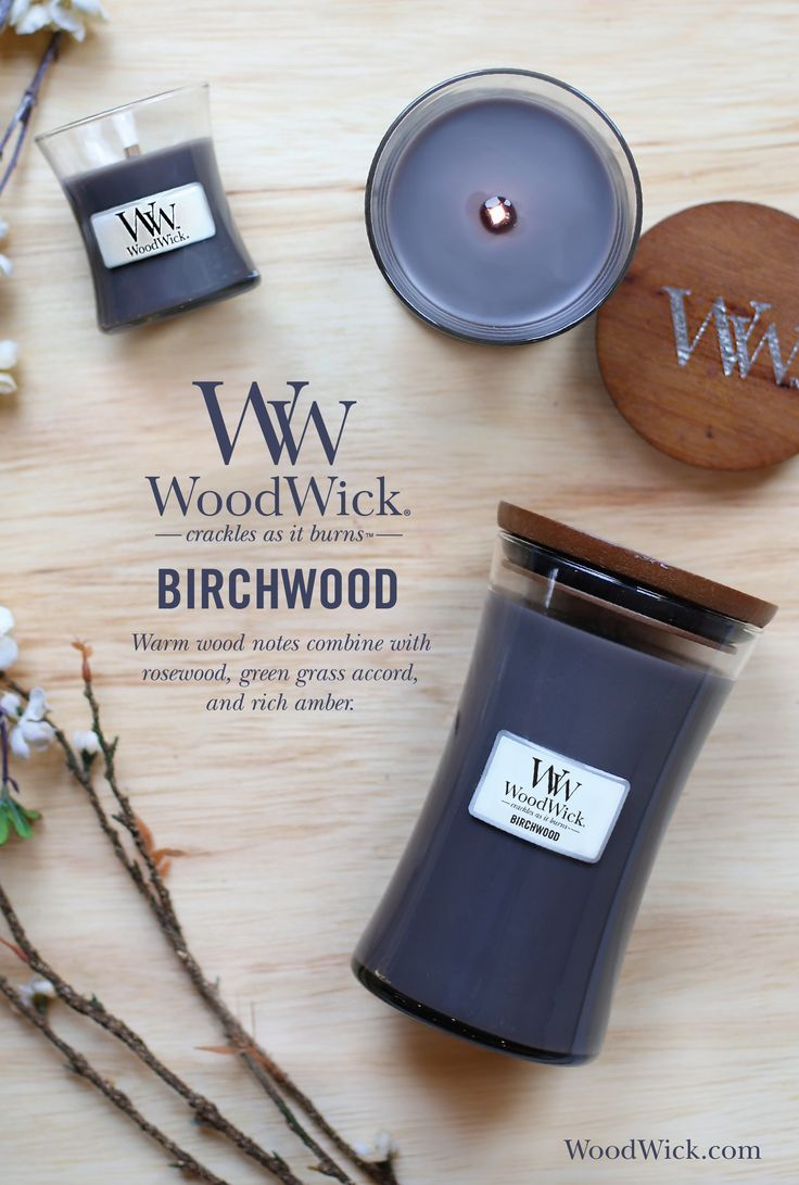 Birchwood whisks you to a dreamy forest full of warm woods, green grass accords, amber and hints of rosewood. WoodWick® candles use a natural, wooden wick that creates the soothing sound of a crackling fire #birchwood #woody #fragrance #woodwick #candle #crackles