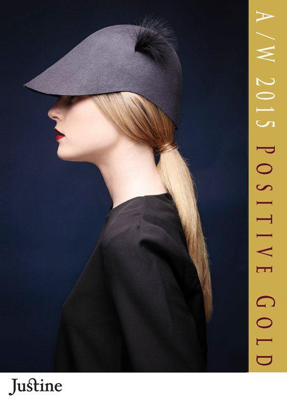 Gray felt visor /  Handmade hat /  Womens visor hat by JustineHats