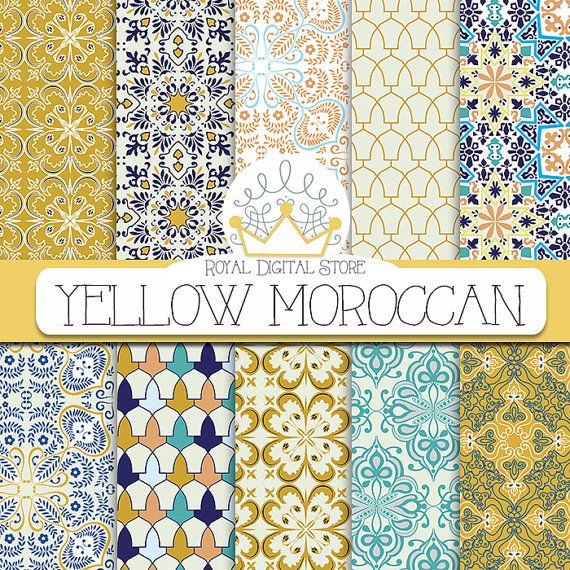 "Moroccan digital paper: "" YELLOW MOROCCAN"" with yellow moroccan pattern, yellow damask, yellow mosaic for scrapbooking, cards, invitations"